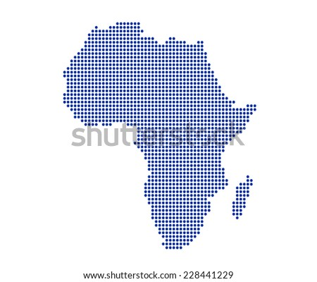 Blue image of modern dotted Africa map illustration - stock photo