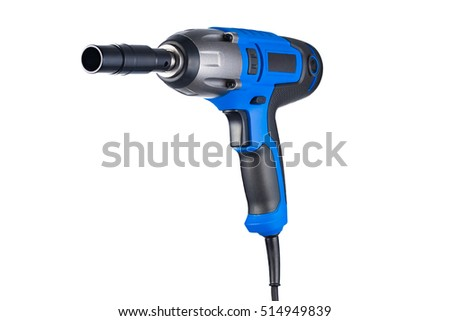 Blue impact gun with socket left view isolated on white background
