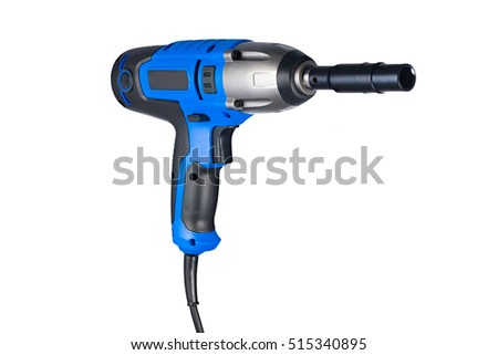 Blue impact gun with socket right view isolated on white background