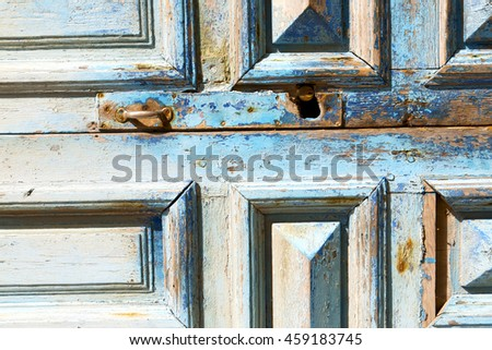 blue   in texture wall and  morocco africa abstract - stock photo