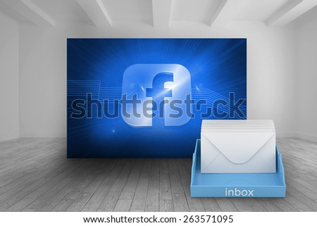 Blue inbox against white room with abstract picture of social media icon - stock photo