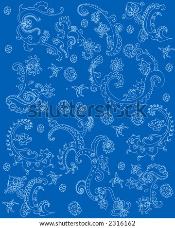 blue indian texture - stock photo