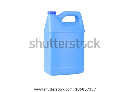 Blue Industrial Bottle Isolated on a White Background - stock photo