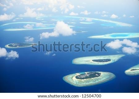 Blue Infinity (atolls of Maldives) - stock photo