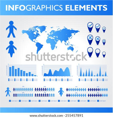 Blue infographics. Universal icons set. Statistic. - stock photo