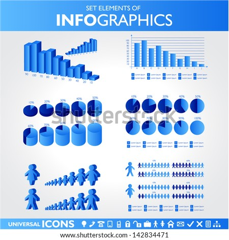 Blue infographics. Universal icons set. Statistic. Raster version. Vector version available in my portfolio - stock photo