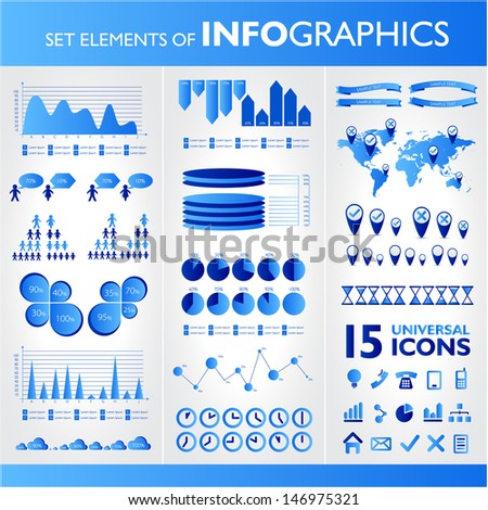Blue infographics. Universal icons set. Statistic. Raster version. Vector version available in my portfolio. - stock photo