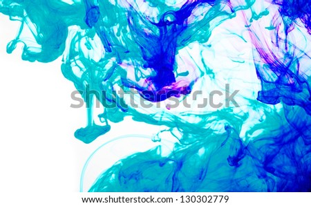 blue inks in water - stock photo