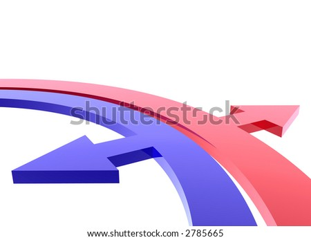 blue inside and red outside arrows - stock photo