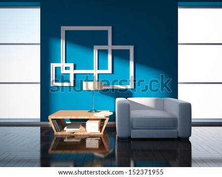 blue interior design - stock photo