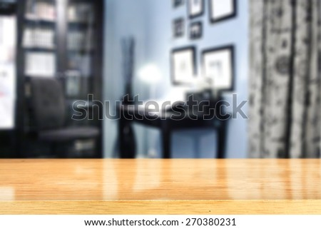 blue interior of office and yellow desk space  - stock photo