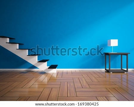 blue interior with a stairs  - stock photo