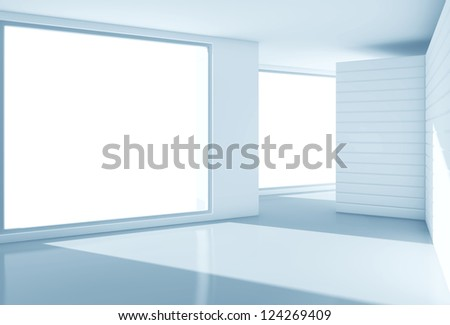 blue interior with big window - stock photo