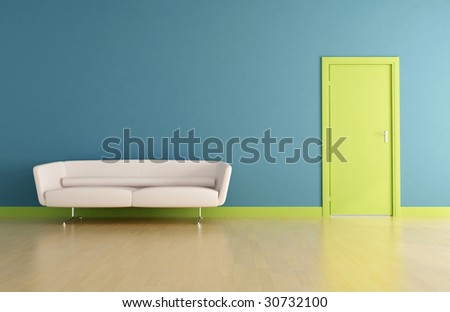 blue interior with green door and white leather sofa-rendering - stock photo