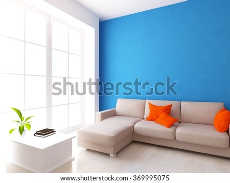 blue interior with sofa. 3d concept - stock photo