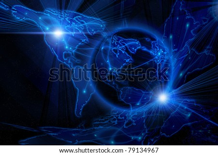 Blue internet background (Global and Communication concept) - stock photo