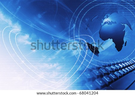 blue internet concept with laptop and world globe - stock photo