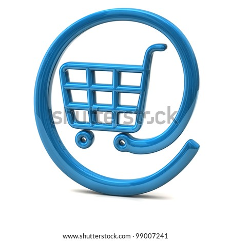 Blue internet on-line shopping icon 3d - stock photo