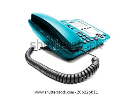 Blue IP office phone isolated on white background - stock photo