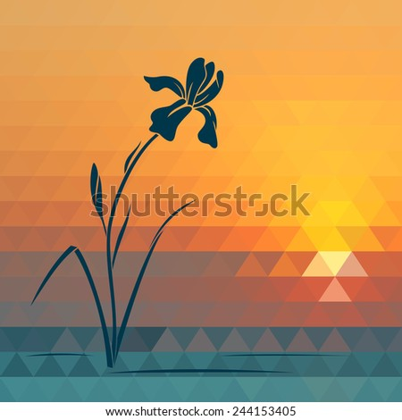 Blue iris on geometric summer background. Raster version. - stock photo