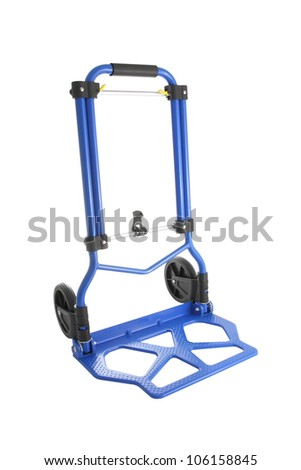 Blue iron hand truck on white background.