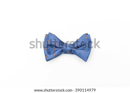 Blue isolated handmade bow-tie - stock photo