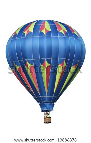 Blue, isolated hot air balloon. - stock photo