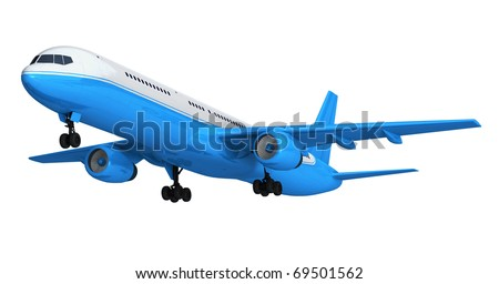 Blue isolated passenger liner - stock photo