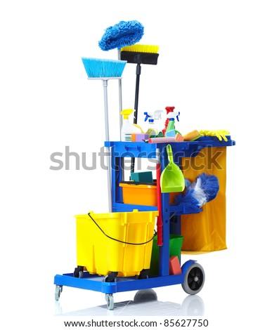 Blue janitor cart. Isolated over white background. - stock photo