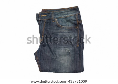 Blue Jean isolated on white background.