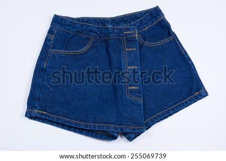 Blue jean shorts - stock photo