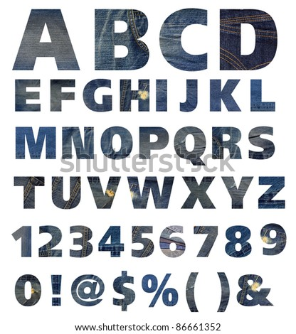Blue jeans alphabet and number on white background - stock photo