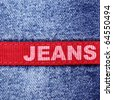"Blue jeans and red label with word ""Jeans"" - stock photo"