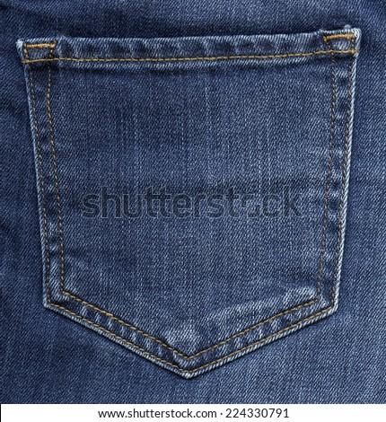 blue jeans back pocket - stock photo