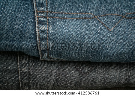Blue jeans back pocket. Background. - stock photo