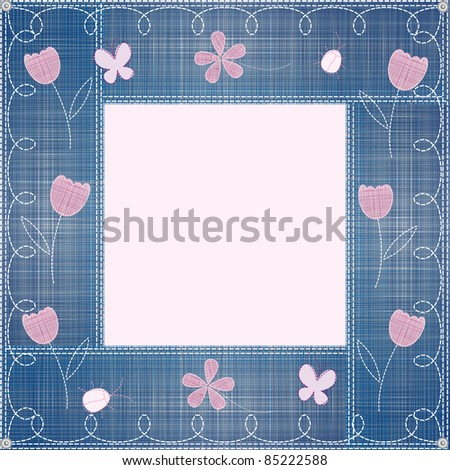 blue jeans border embroidery and patchwork decorated