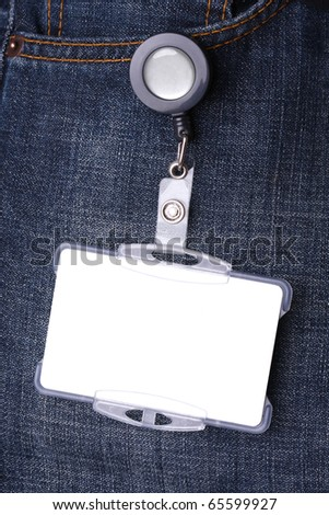 Blue jeans detail with blank id card - stock photo