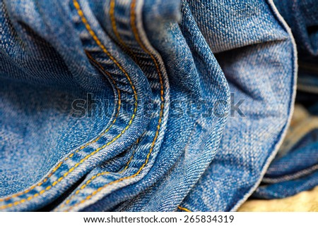 blue jeans double seams, close up - stock photo
