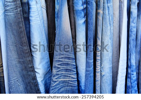 Blue jeans in a shop - stock photo