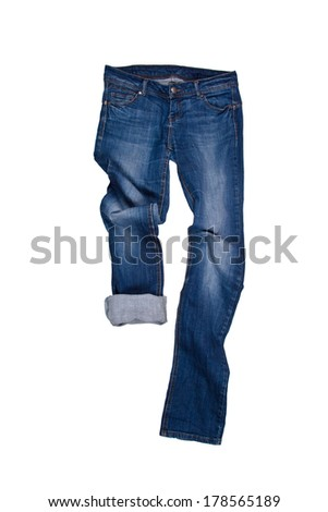 blue jeans isolated on the white background  - stock photo