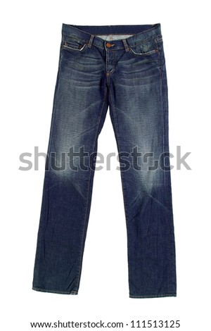 Blue Jeans Isolated on white background - stock photo