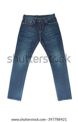 Blue Jeans Isolated with clipping path - stock photo