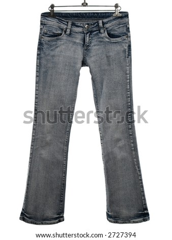 Blue jeans on a hanger, isolated on white. - stock photo