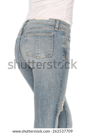 blue jeans on a woman rear view