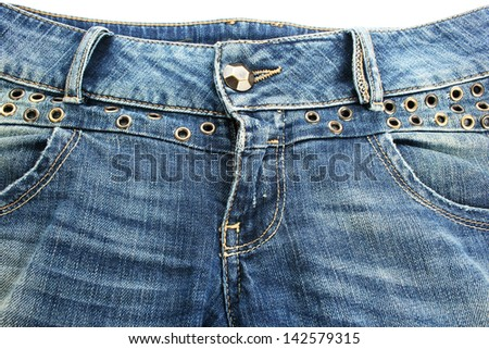 Blue jeans on white background. - stock photo