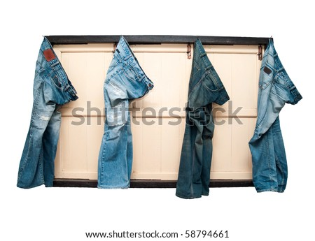 Blue jeans on windows - stock photo