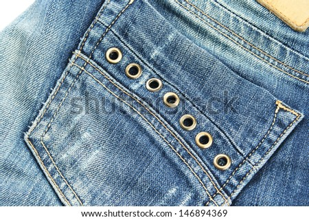 Blue jeans pocket close up picture. - stock photo