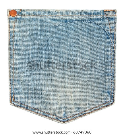Blue jeans pocket isolated on white . - stock photo