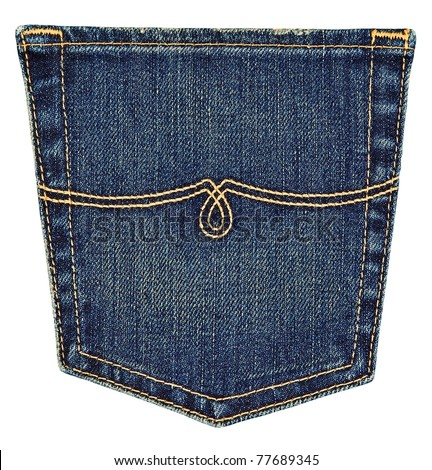 collection different jeans pocket isolated on stock photo