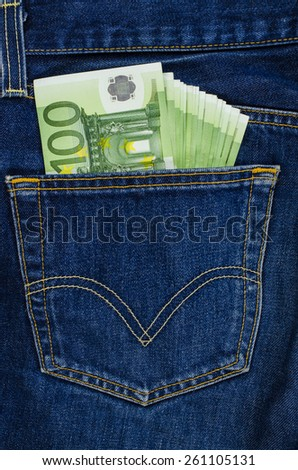Blue jeans pocket with euro bills - stock photo
